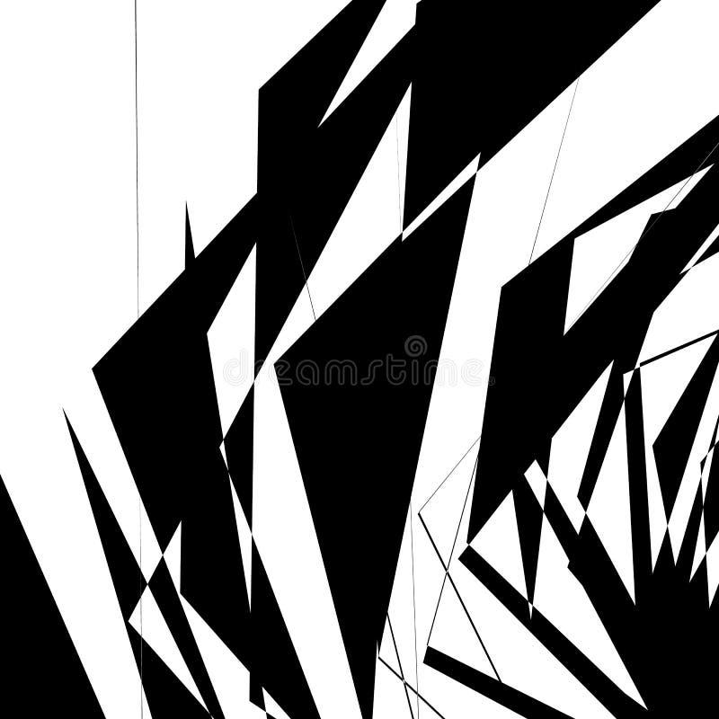 Geometric texture with random angular shapes. Monochrome art royalty free illustration