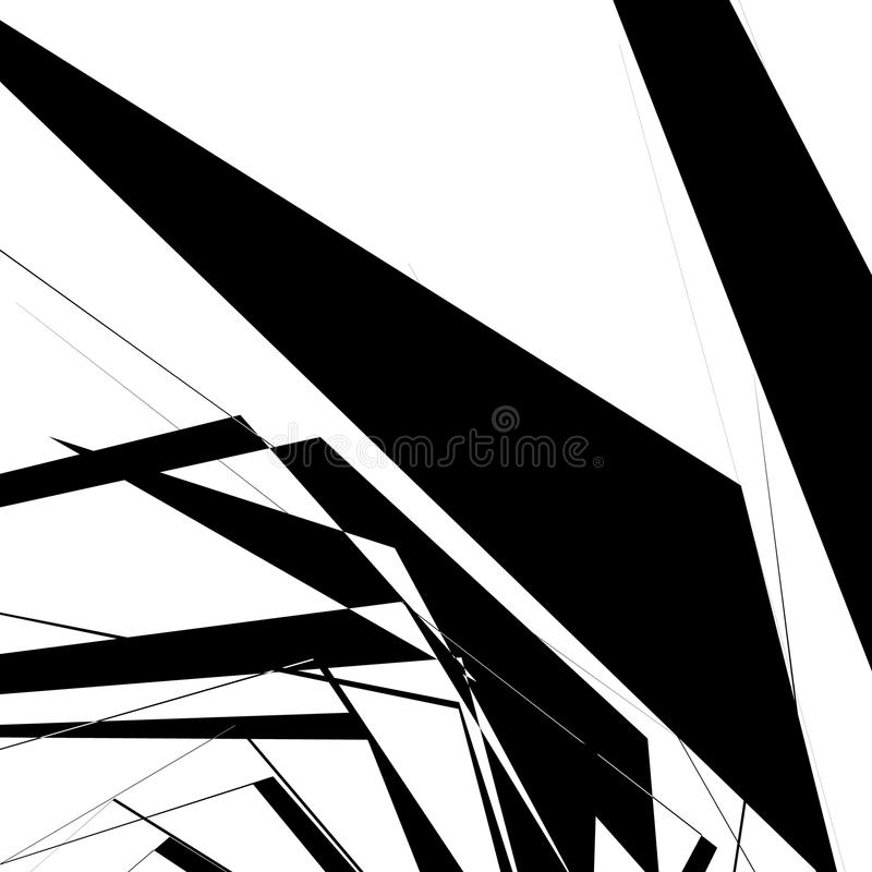 Geometric texture with random angular shapes. Monochrome art stock illustration