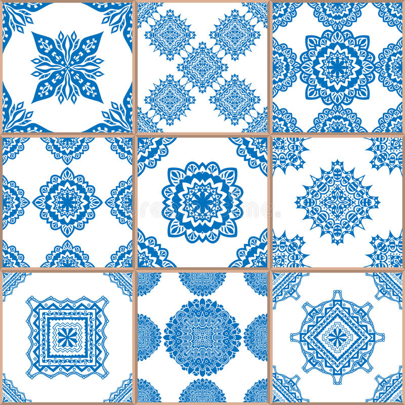 Geometric tiles seamless patterns set royalty free illustration