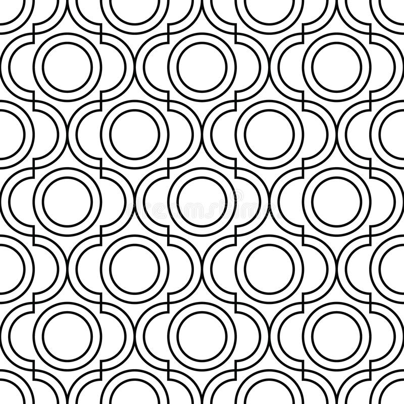 Geometric trellis pattern. Black and white seamless background. Screen print vector texture stock illustration