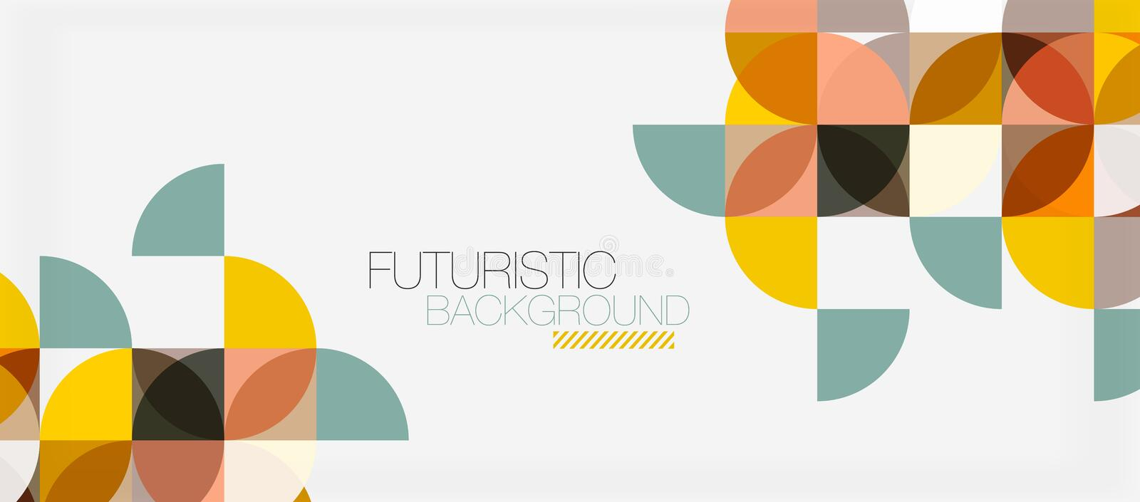 Geometric triangle and circle shape, wide abstract background stock illustration