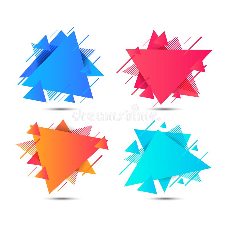 Geometric triangle colorful abstract shapes badges background. vector illustration. For banner web, app, poster vector illustration