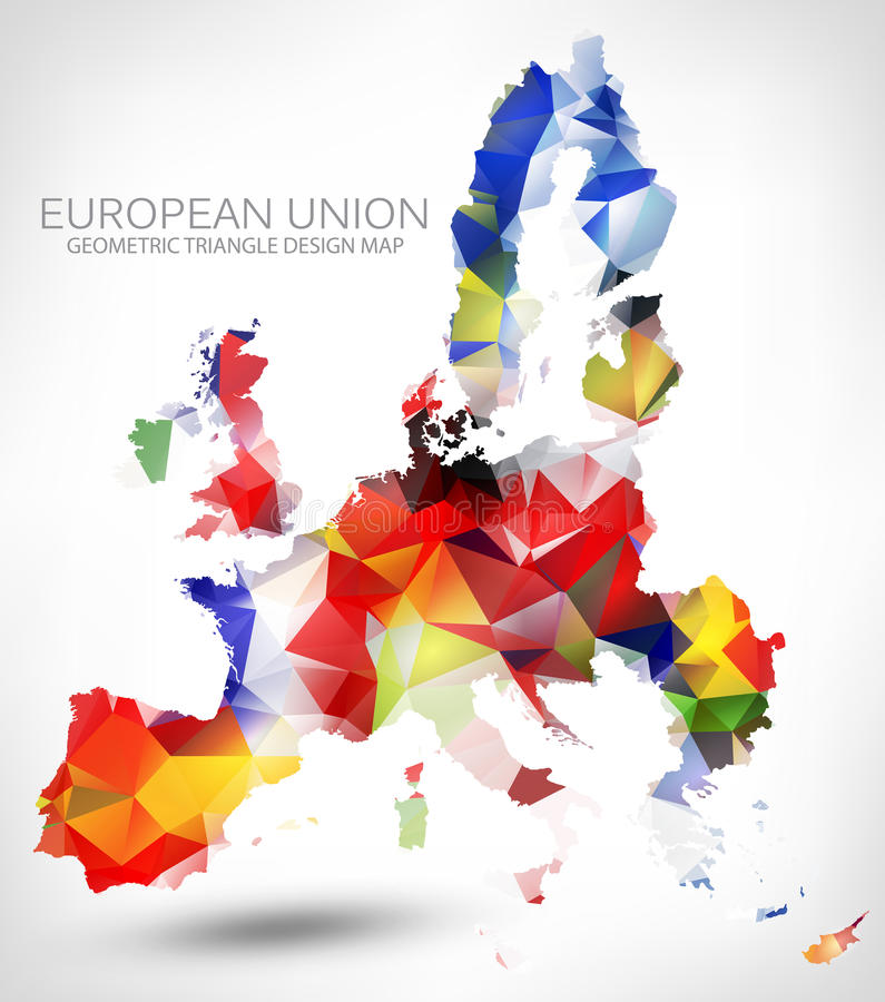 GEOMETRIC TRIANGLE DESIGN MAP OF THE EUROPEAN UNION. THE MAP PAINTED INTO COUNTRIES FLAGS COLORS vector illustration