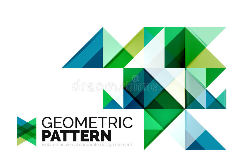 Geometric triangle mosaic pattern element isolated stock illustration