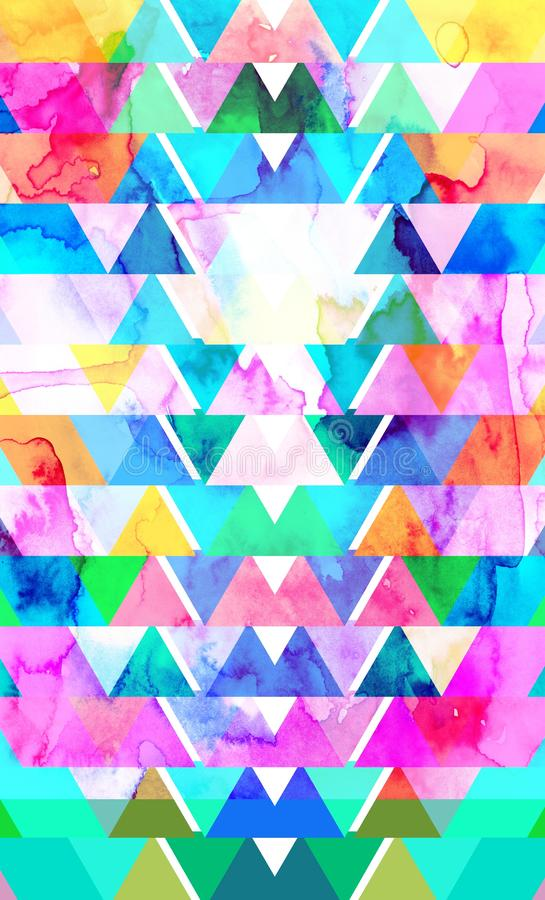 Geometric triangles and poligons and watercolor  colorful simple background. For design stock photos