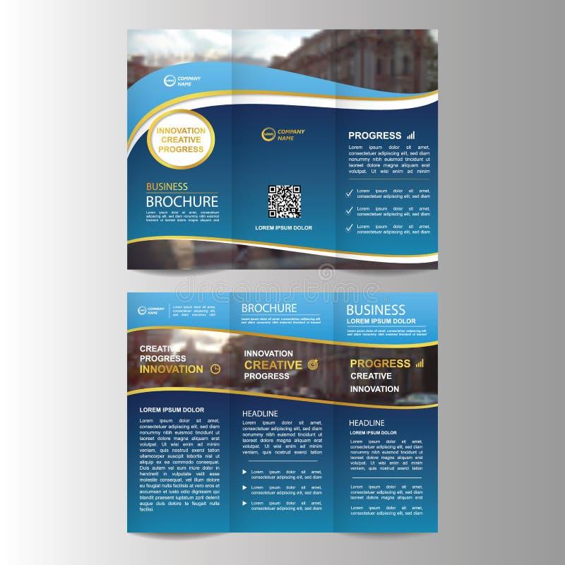 Geometric Trifold Business Brochure template vector illustration