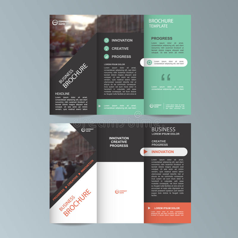 Geometric Trifold Business Brochure template stock illustration