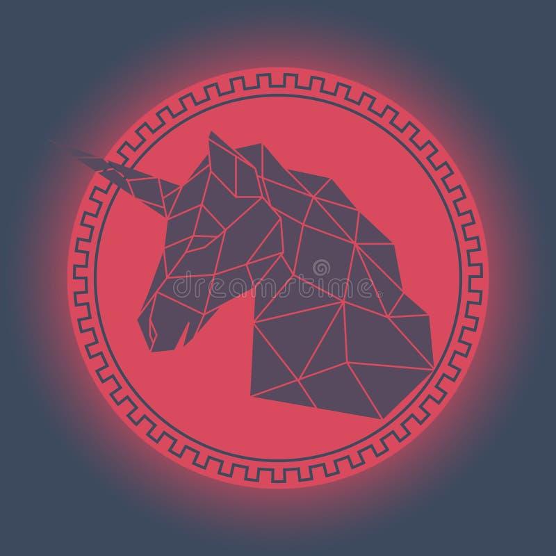 Geometric unicorn head. vector illustration