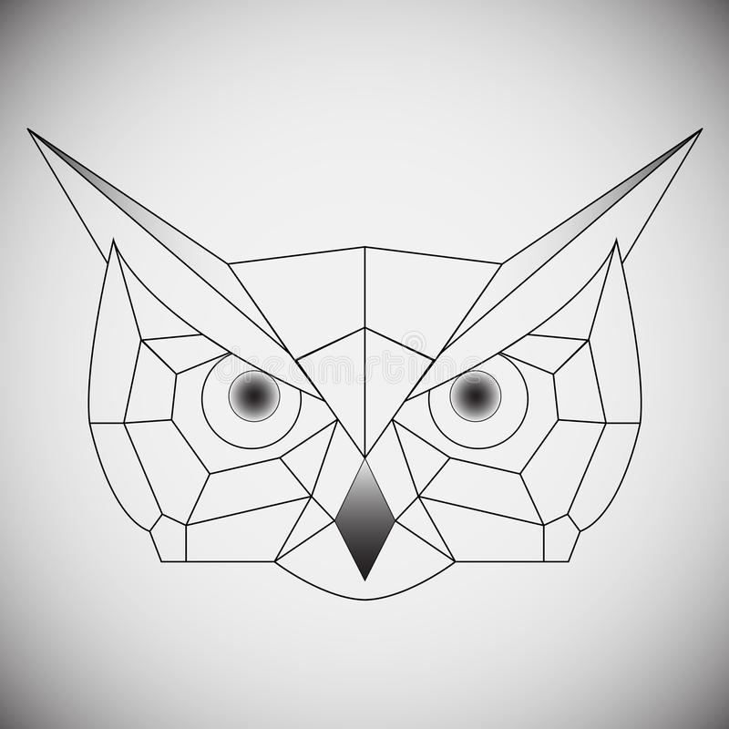 Geometric vector head owl drawn in line or triangle style, suitable for modern tattoo polygonal templates, icons or logo vector illustration