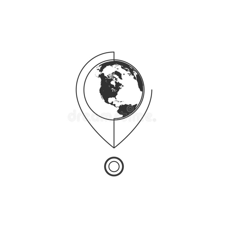 Geometric Vector illustration of line map pin with globe icon. Graphic design concept of navigation. Use in Web Project and. Geometric Vector illustration of stock illustration