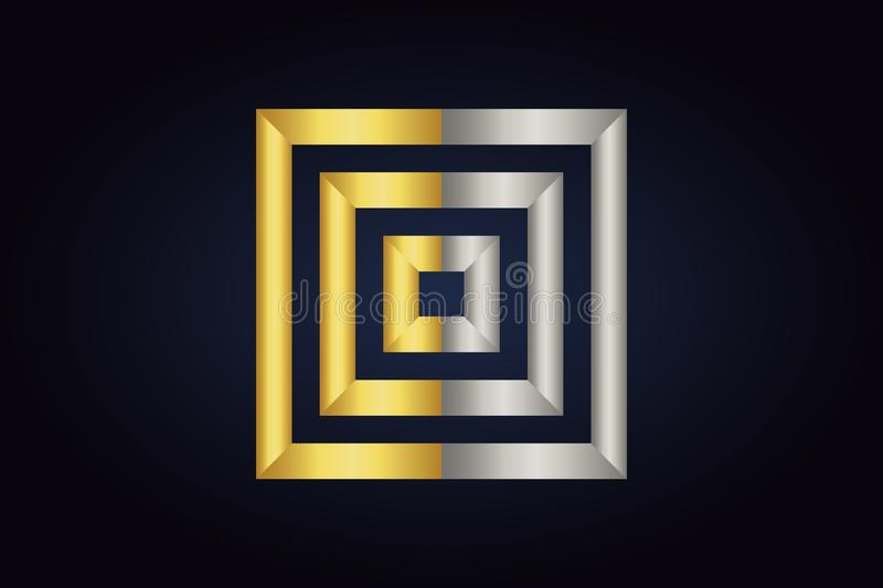 Three squares inside each other. Squares in silver and gold colors. Geometric vector logo isolated on dark background. Three squares inside each other. Squares stock illustration