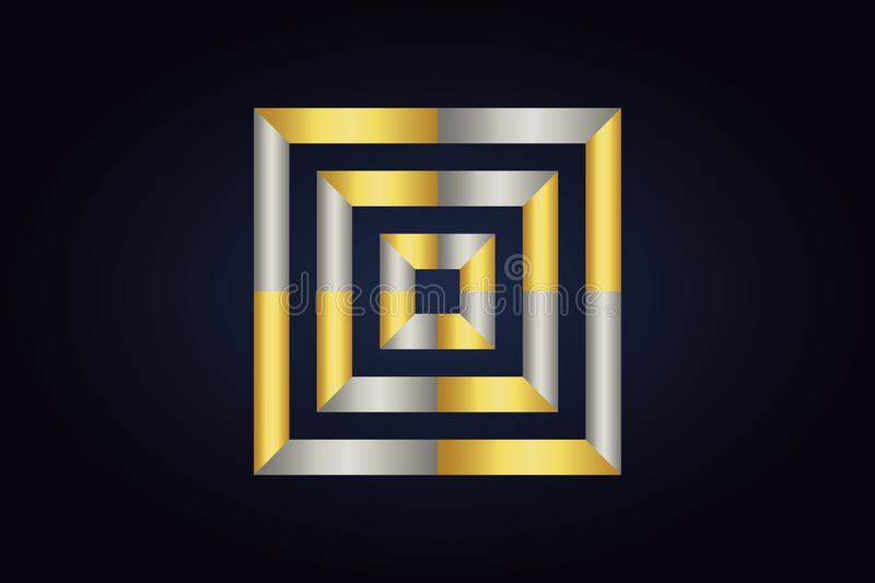Three squares inside each other. Squares in silver and gold colors. Geometric vector logo isolated on dark background. Three squares inside each other. Squares vector illustration