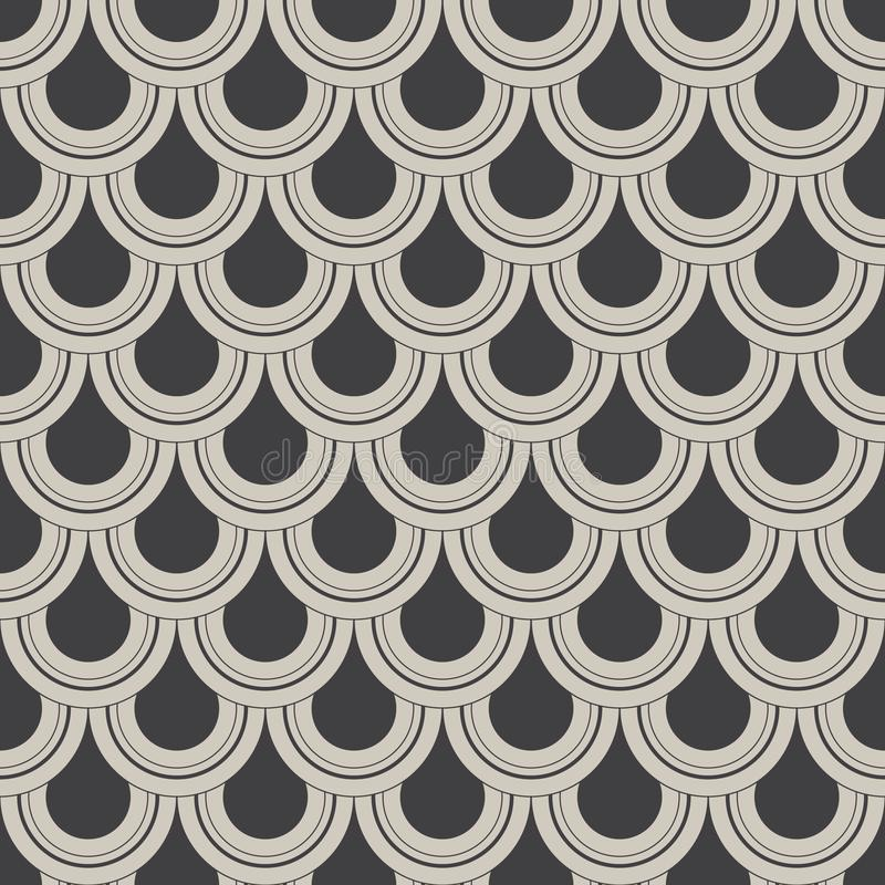 Geometric vector pattern, repeating circle or abstract water drop, fish scale and curtain. Pattern is clean for design, fabric, royalty free illustration