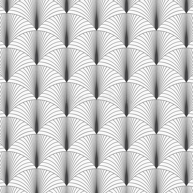 Geometric vector pattern repeating linear half circle of paper fan in monochrome Japanese styles background. stock illustration