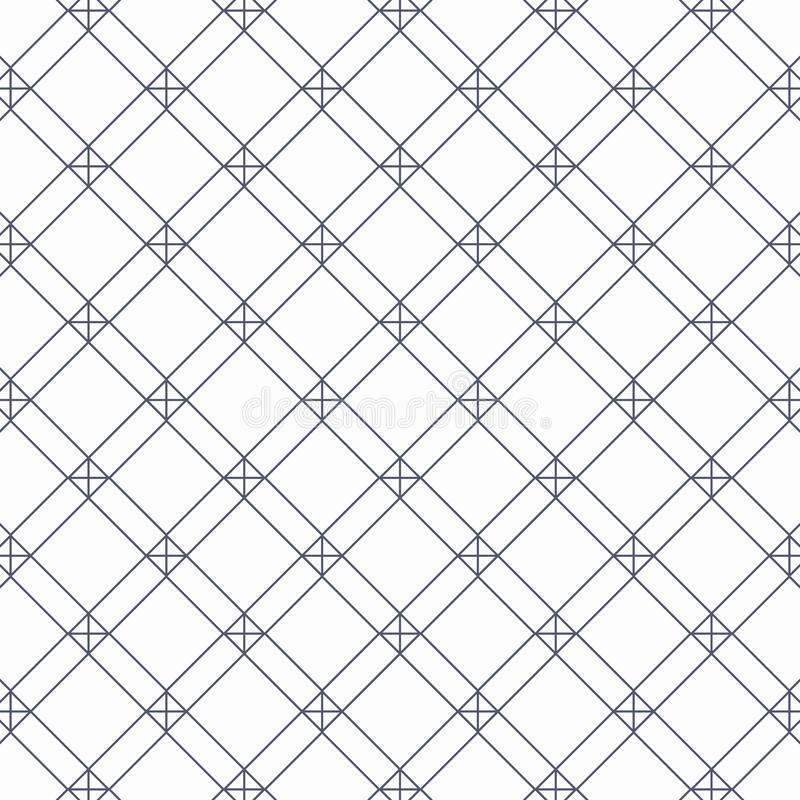 Geometric vector pattern, repeating linear square and diamond shape with cross at each corner. Pattern is on swatches panel vector illustration