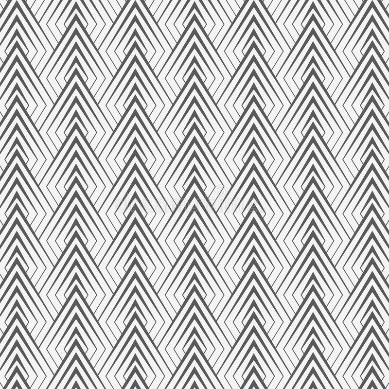Geometric vector pattern, repeating linear triangles decorates graphic clean for print, wallpaper, background. Pattern is on swatches panel royalty free illustration