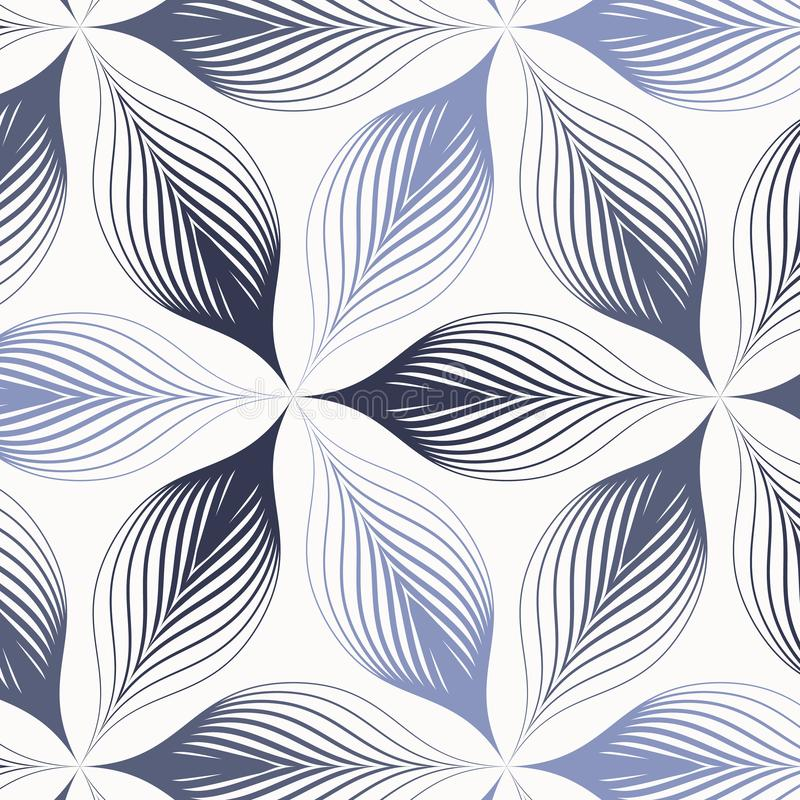 Geometric vector pattern, repeating tile texture abstract flower petal or leaves, two tone color comprising of dark blue and light stock illustration