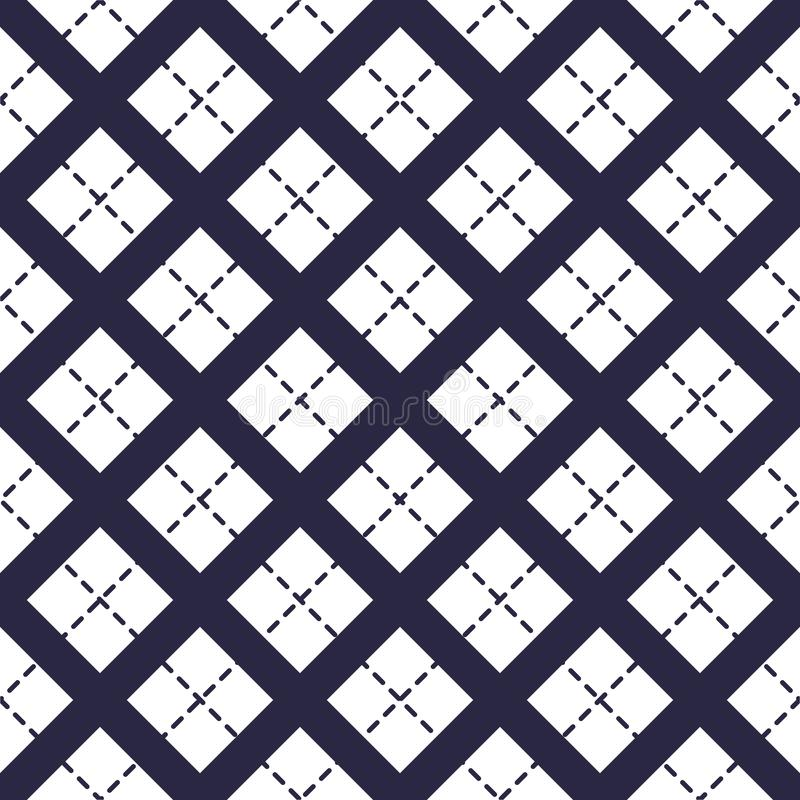 Geometric vector seamless pattern with crossed lines, abstract background. Simple minimalistic black and white design. Single stock illustration