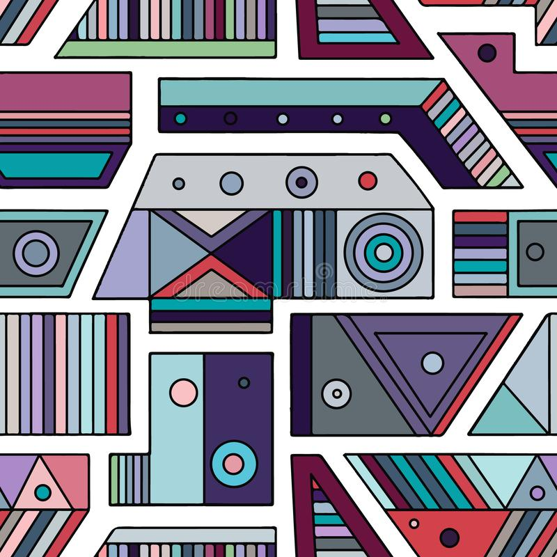 Geometric vector seamless pattern with different geometrical forms. Square, triangle, rectangle, dots, circles. Modern techno. Design. Abstract background stock illustration