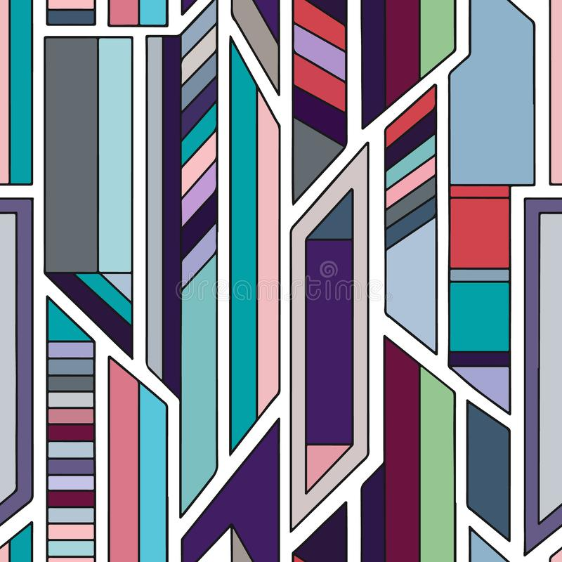Geometric vector seamless pattern with different geometrical forms. Square, triangle, rectangle, lines. Modern techno design. Abstract background. Graphic vector illustration