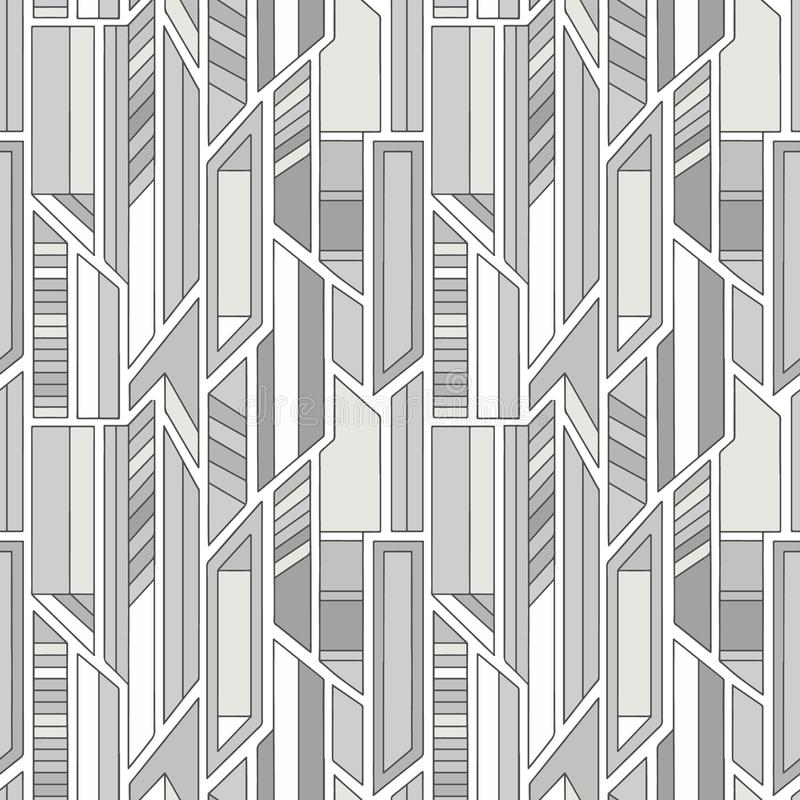 Geometric vector seamless pattern with different geometrical forms. Square, triangle, rectangle, lines. Modern techno design. Abstract background. Graphic stock illustration