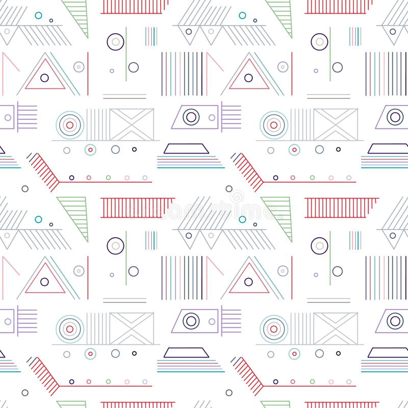 Geometric vector seamless pattern with different geometrical forms. Square, triangle, rectangle, lines. Modern techno design. Abstract background. Graphic royalty free illustration