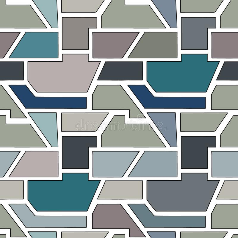 Geometric vector seamless pattern with different geometrical forms. Square, triangle, rectangle. Modern techno minimal design. Abstract background. Graphic vector illustration