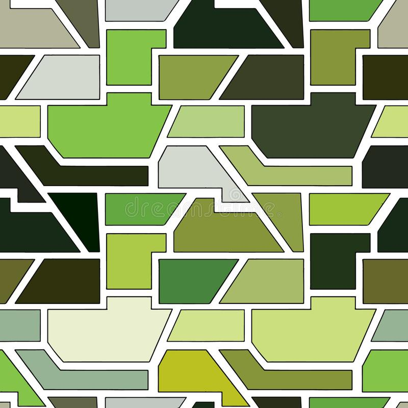 Geometric vector seamless pattern with different geometrical forms. Square, triangle, rectangle. Modern techno minimal design. Abstract background. Graphic stock illustration