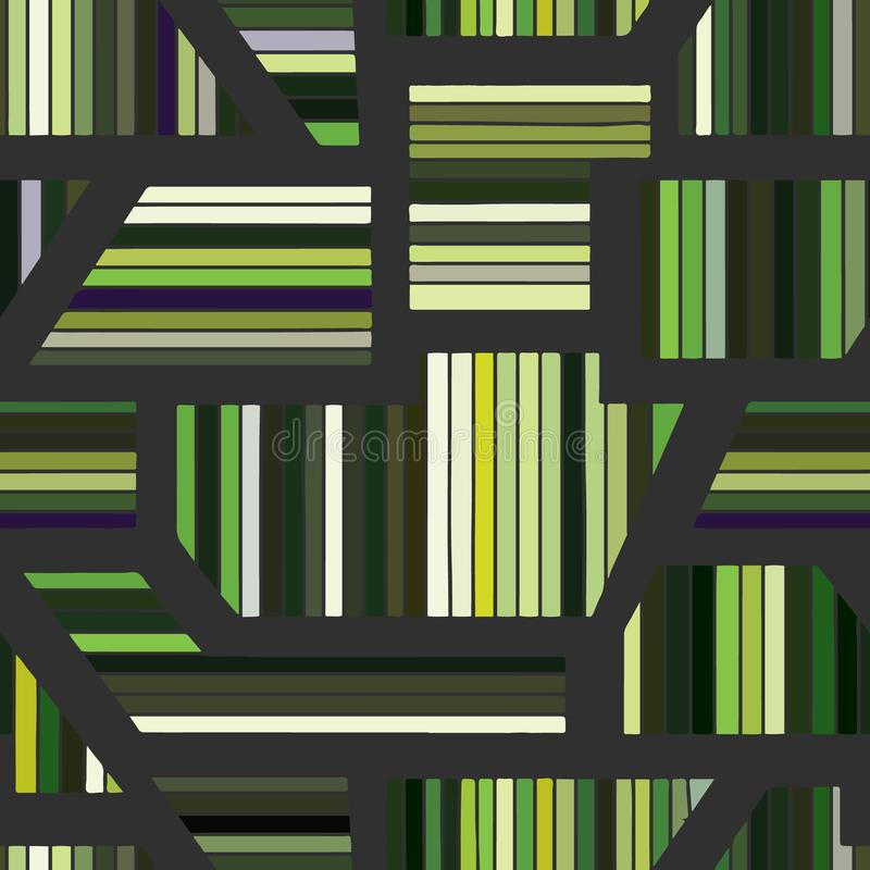 Geometric vector seamless pattern with different geometrical forms. Striped square, triangle, rectangle. Modern techno minimal. Design. Abstract background royalty free illustration