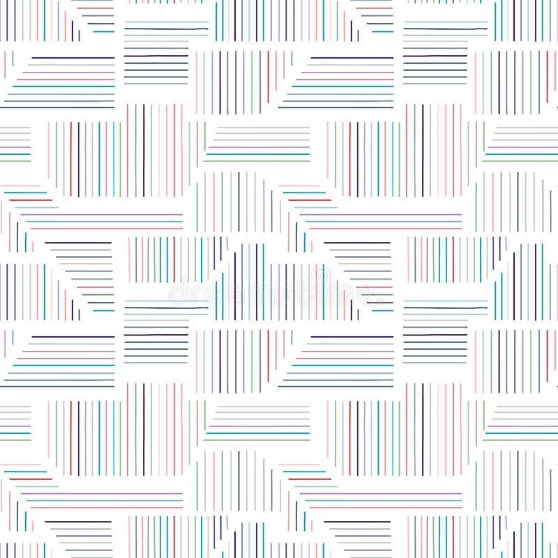 Geometric vector seamless pattern with different geometrical forms. Striped square, triangle, rectangle. Modern techno minimal. Design. Abstract background stock illustration