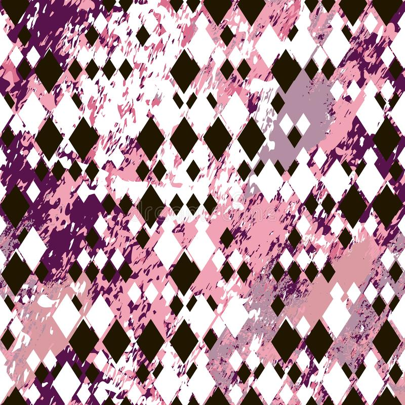 Different size black and white rhombuses on pink marble textured background royalty free illustration