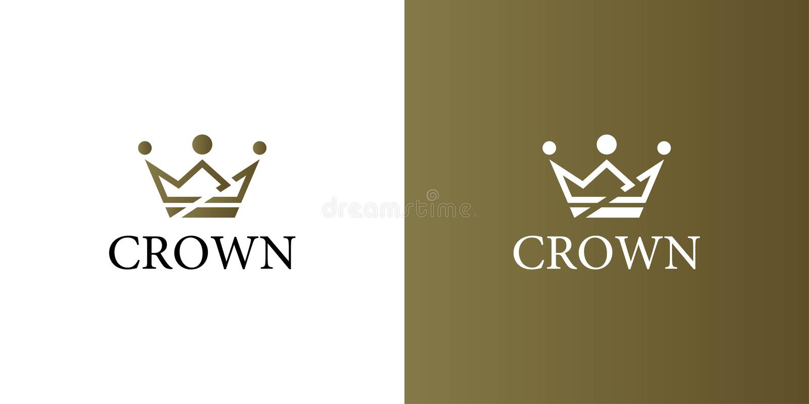 Geometric Vintage Creative Crown abstract Logo design vector template. Vintage Crown Logo Royal King Queen concept symbol Logotype royalty free illustration