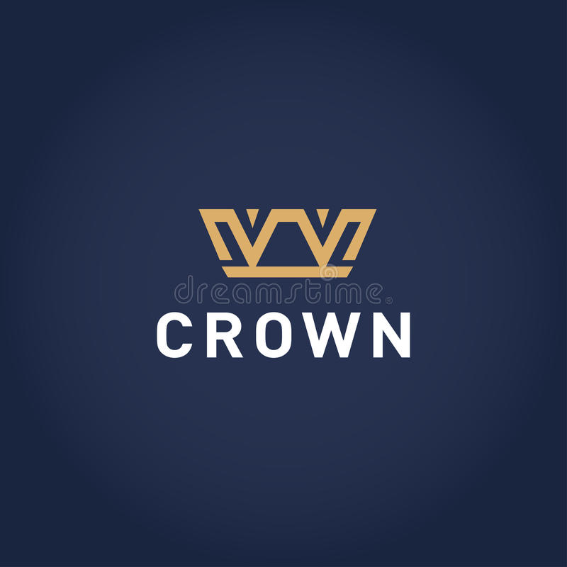 Geometric Vintage Crown abstract Logo design template. Vintage Crown Logo Royal King Queen symbol Logotype concept icon. vector illustration