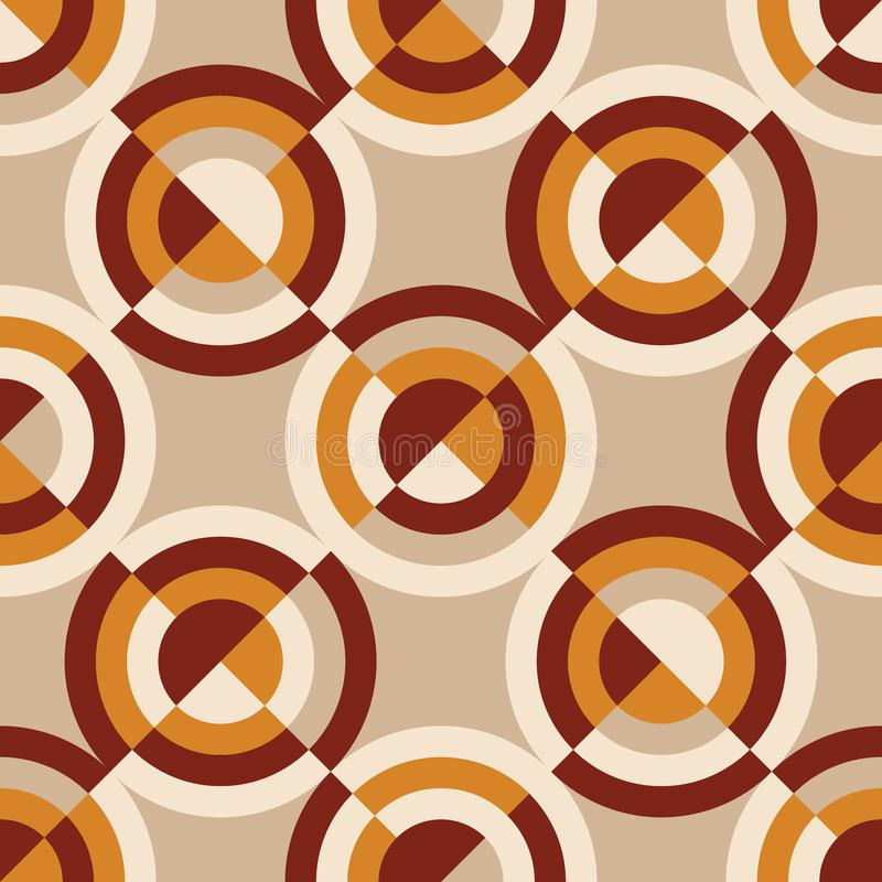 Geometric vintage 60s or 70s style seamless pattern. Orange and yellow retro vibes repeatable motif for background, wrap, fabric, textile, wrap, surface, web stock illustration