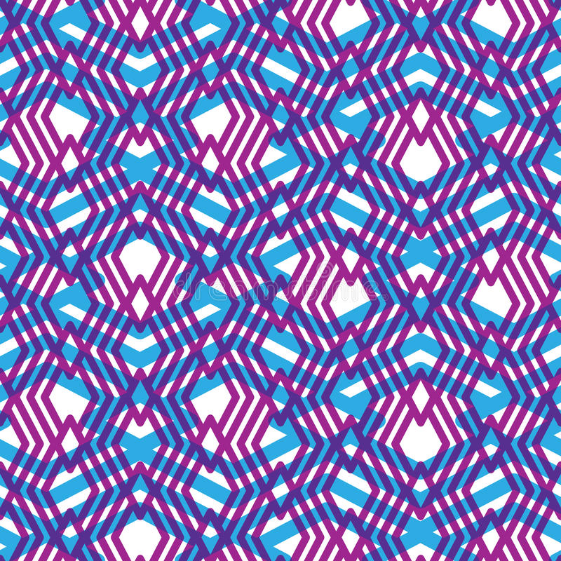 Geometric violet messy lined seamless pattern, colorful maze vector illustration
