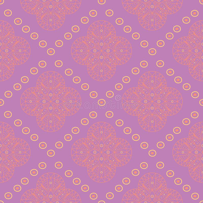 Geometric violet seamless pattern. Bright colored mandala background with pink and yellow elements vector illustration