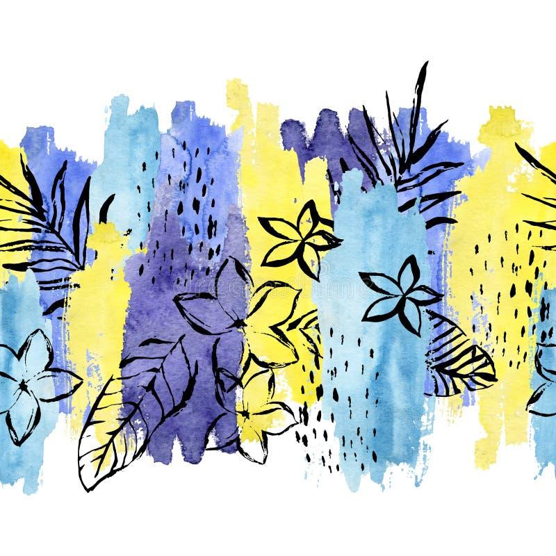 Geometric watercolor shape, tropical leaf, flower seamless pattern. vector illustration