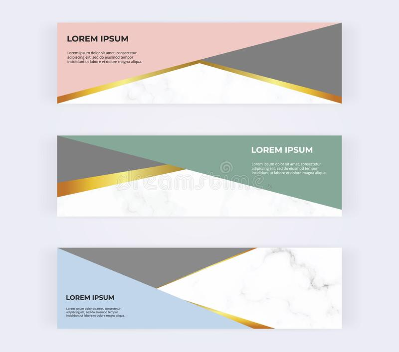 Geometric web banners with pink, green, blue and gold triangles on the marble texture. Modern templates for invitation, logo, card royalty free illustration