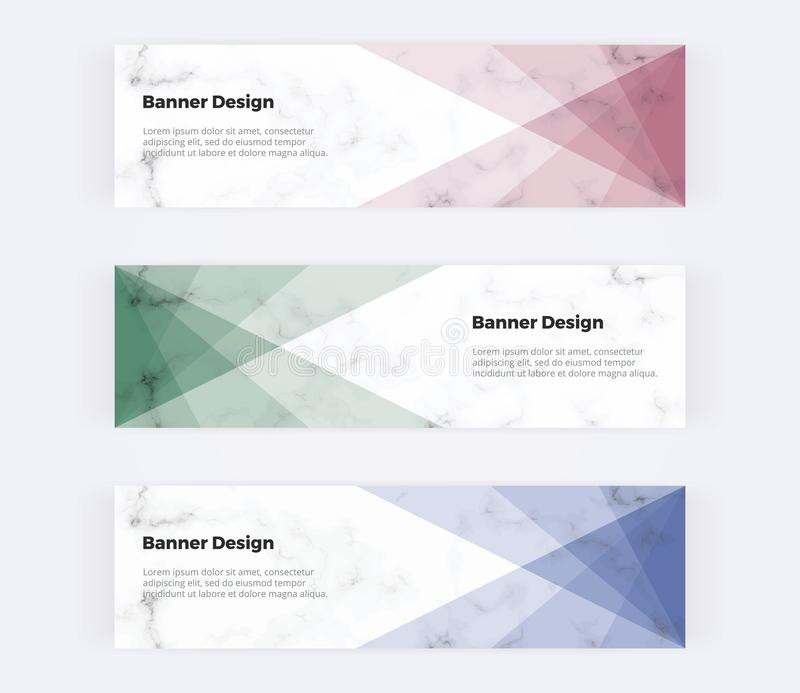 Geometric web banners with red, green, blue triangles on the marble texture. Modern templates for invitation, logo, card, flyer, p royalty free illustration