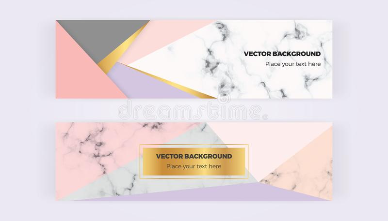 Geometric web banners with triangles. Modern luxury and fashion design with marble texture. Horizontal template for business, card vector illustration