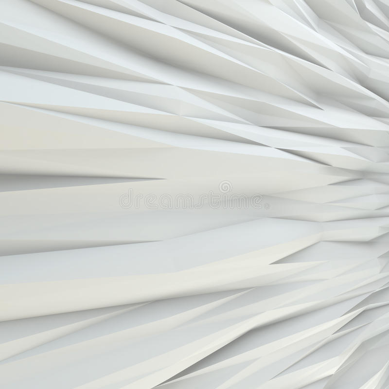Geometric white abstract polygonal noised edges. Interior room wall royalty free stock photos