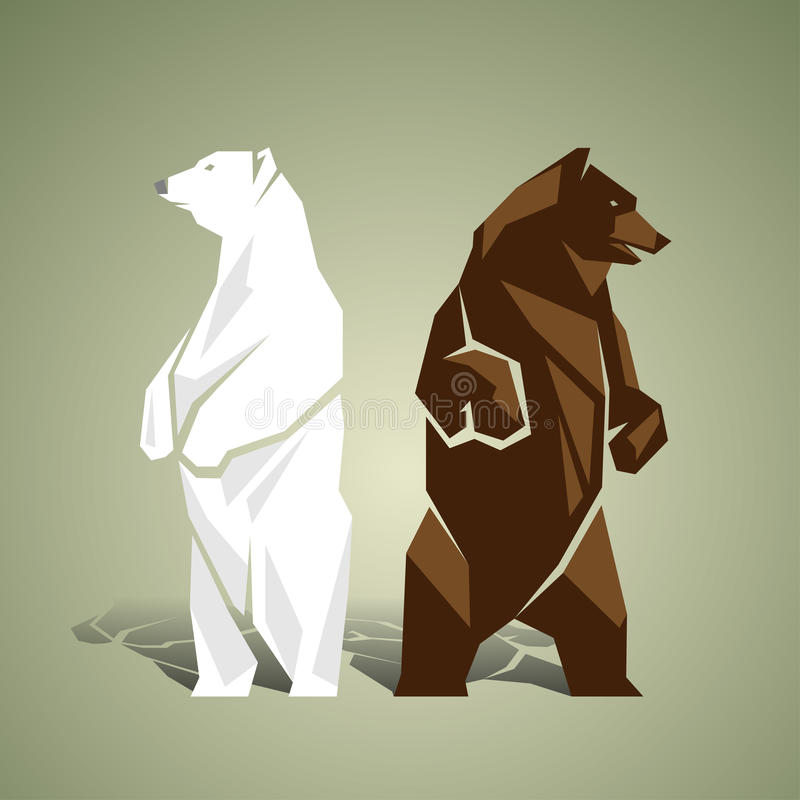 Geometric white and brown bears vector illustration