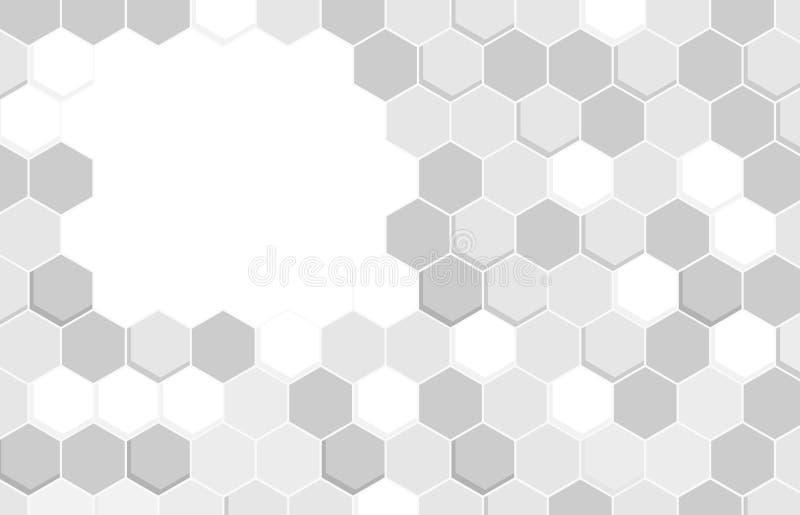 Geometric white  Hexagonal Shapes Background. stock image