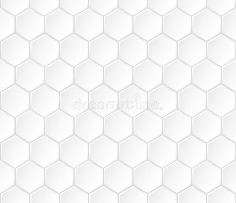 Geometric white hexagonal vector seamless pattern royalty free illustration