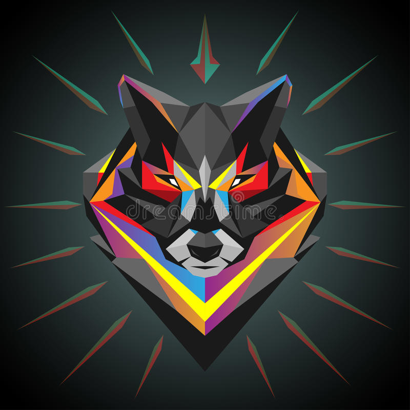 Geometric wolf head. In vector vector illustration