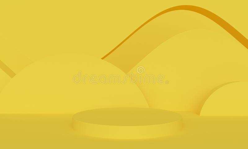 Geometric yellow abstract background with platform. 3d rendering stock illustration
