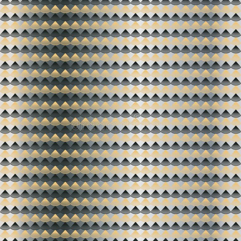 Geometric gold, charcoal seamless pattern on silver background. stock illustration