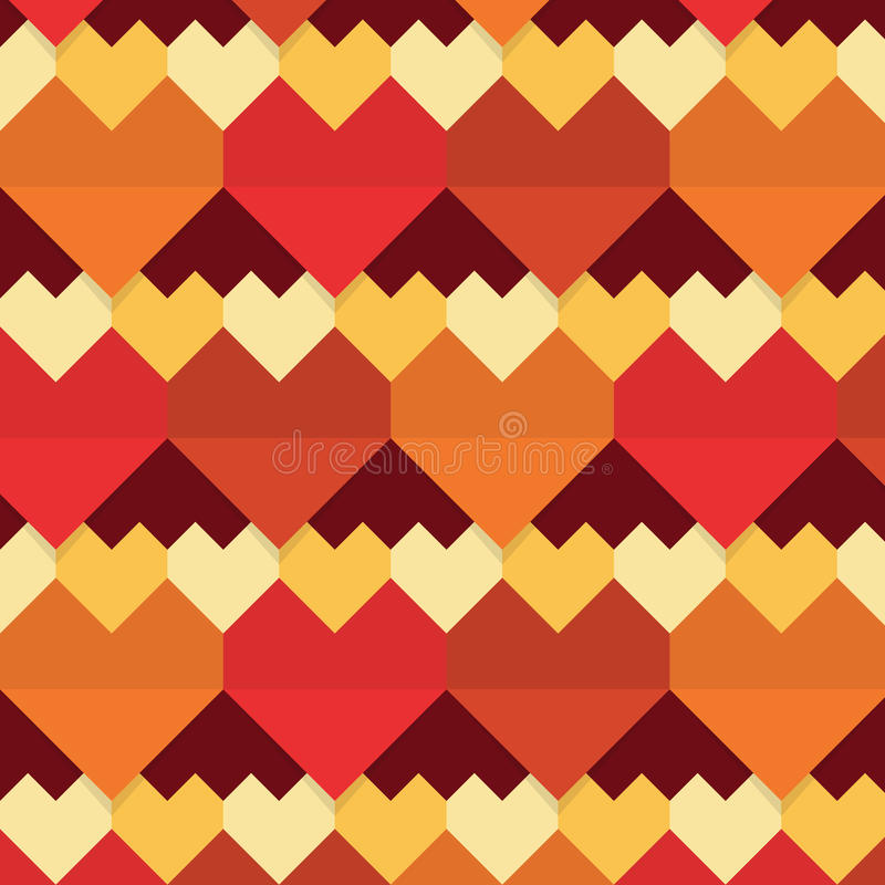 Geometrical abstract hearts seamless pattern vector illustration