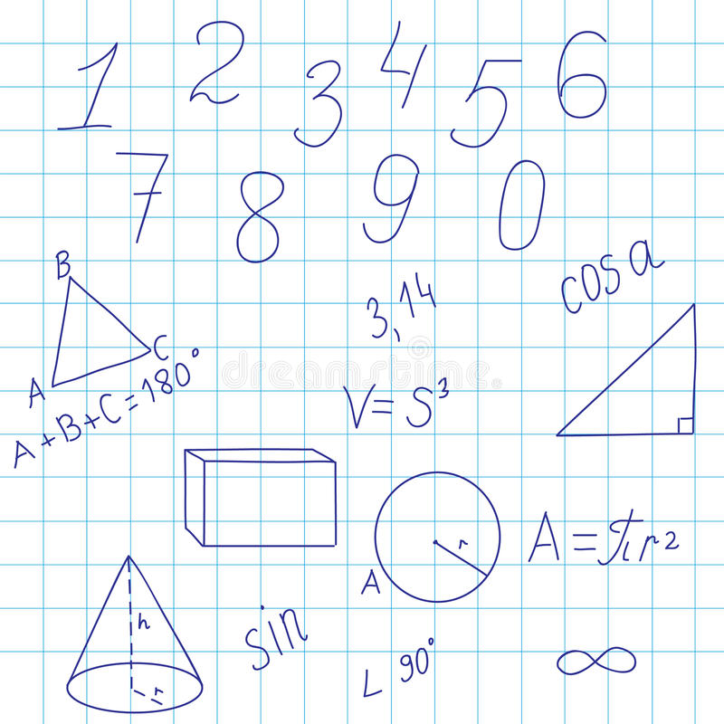 Geometrical background with figures and formulas stock photo