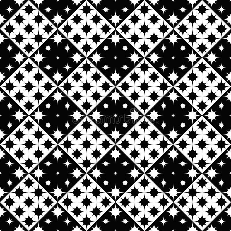 Geometrical bezszwowy czarny i biały wyginający się gwiazdowego wzoru tło ilustracji
